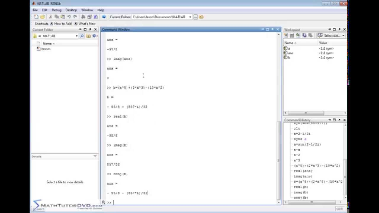 Matlab Tutorial Complex Numbers And The Symbolic Math Toolbox