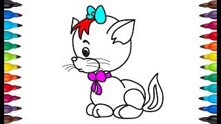 How to draw | drawing cat | coloring page | very easy & simple drawing & color