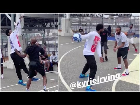 Kyrie pulls up to a park in Brooklyn & hoops with the guys there