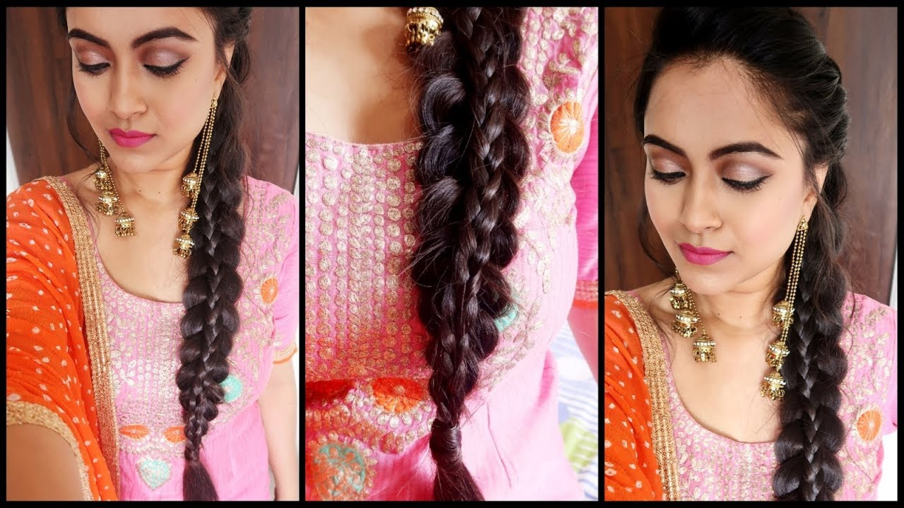 Image result for SuperEasy Braid Hairstyle-Punjabi Braid Look for INDIAN Party/WEDDING GUEST