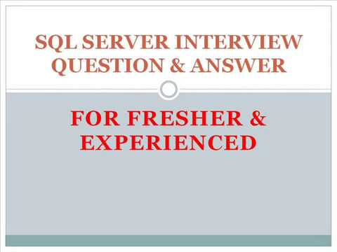 SQL Server Interview Questions and Answers YouTube