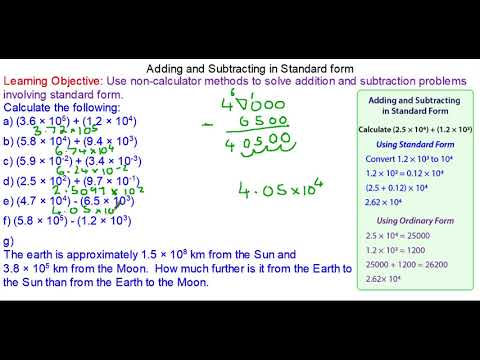 Adding And Subtracting With Numbers In Standard Form Youtube