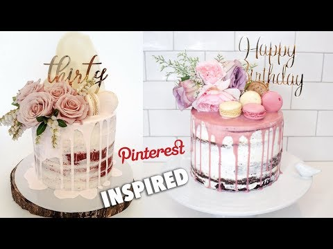 SEMI NAKED DRIP BIRTHDAY CAKE WITH FLOWERS - PINTEREST INSPIRED