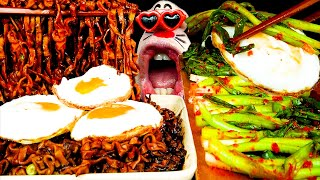 ASMR MUKBANG :) Spicy Black Bean Noodle & Green Onion Kimchi Eating Show!