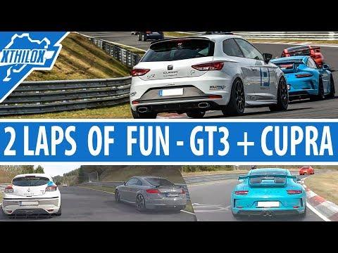 Porsche GT3 RS + GT3 MK2 + Leon Cupra + Megane RS - 2 Laps of FUN on Nürburgring Nordschleife BTG