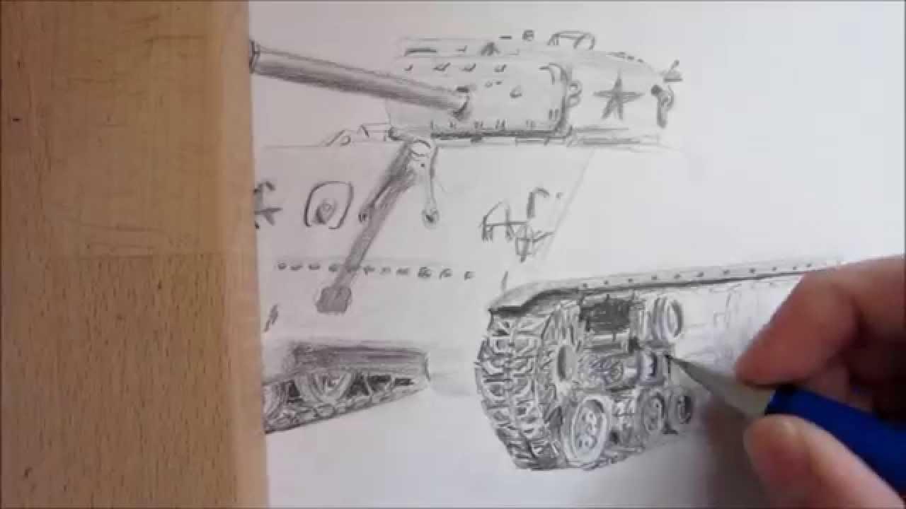 how to draw a ww2 tank