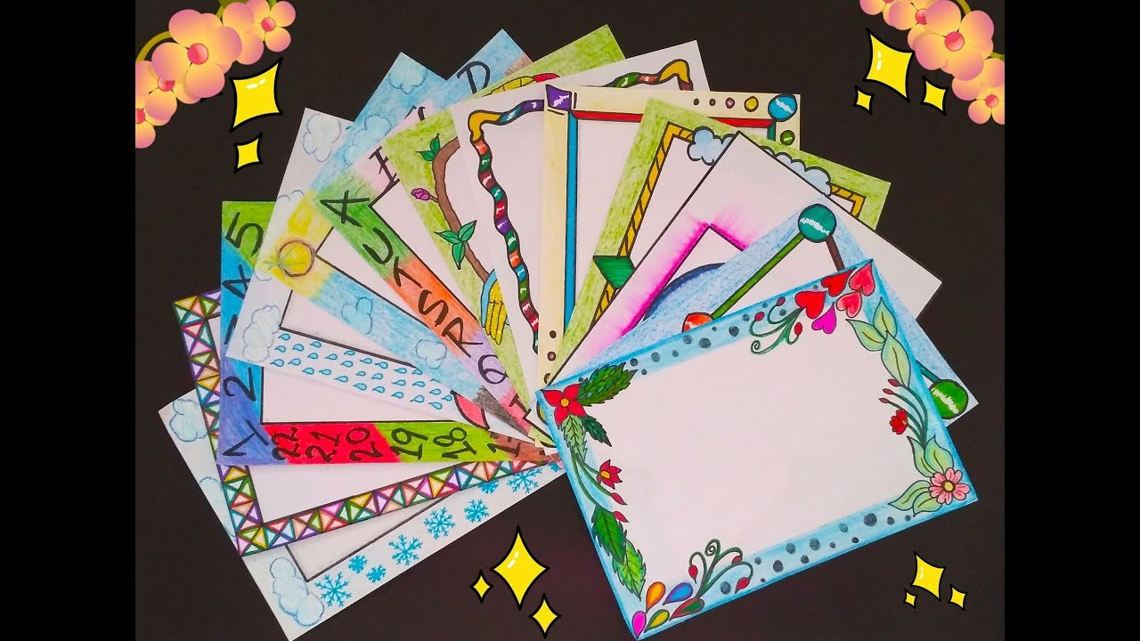 Borders For School Project File  Different designs great ideas Border decoration  YouTube