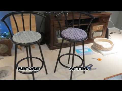 HOW TO RECOVER/REUPHOLSTER YOUR BAR STOOLS - HOW TO RECOVER/REUPHOLSTER YOUR BAR STOOLS - YouTube