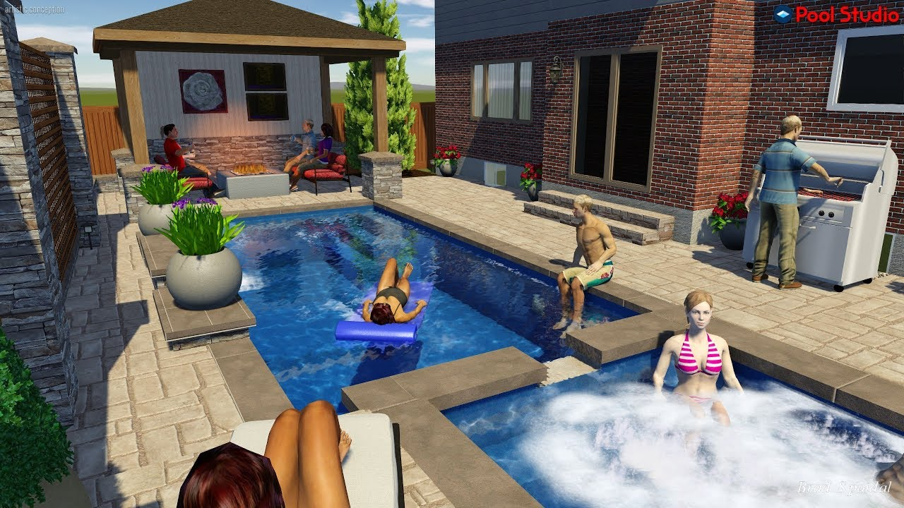 Rectangle Pool With Spillover Spa And Gas Fire Pit By Rideau Pools Ottawa Youtube