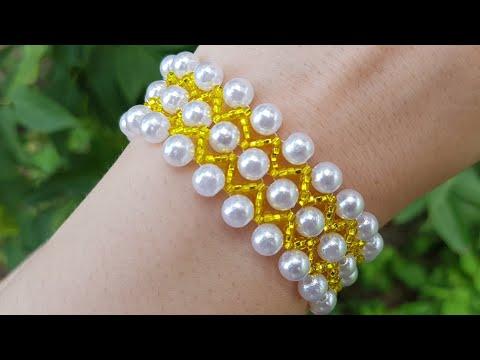 Beaded Bracelet/Pearl Bracelet/Браслет из бисера/Жемчужный браслет из бусин и бисера