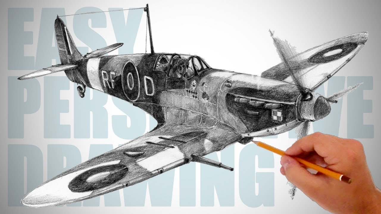 How To Draw Ww2 Aircraft Spitfire Easy Perspective Drawing 29