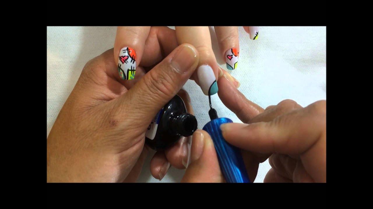 paso a paso como realizar un decorado en tus uñas con un estilo en retazos OLNAIL