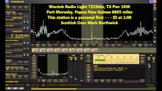 Shortwave DX Wantok Radio Light 7325khz PNG Received In Scotland on Perseus SDR and Beverage Antenna