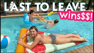LAST SIBLING TO LEAVE THE POOL WINS!   THREE TEENS COMPETE IN NANA'S POOL