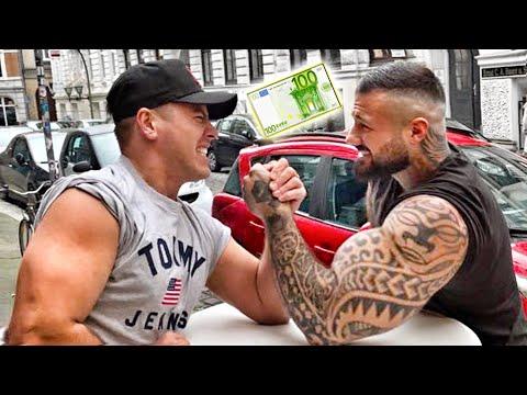 100€ Armdrücken gegen fremde Menschen !!! 💪🏼