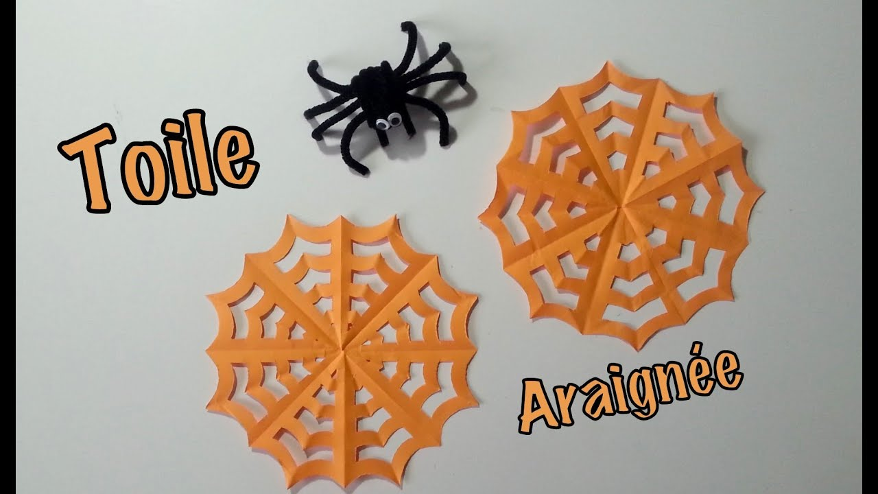 Diy d co halloween toile d 39 araign e en papier youtube - Faire deco halloween ...