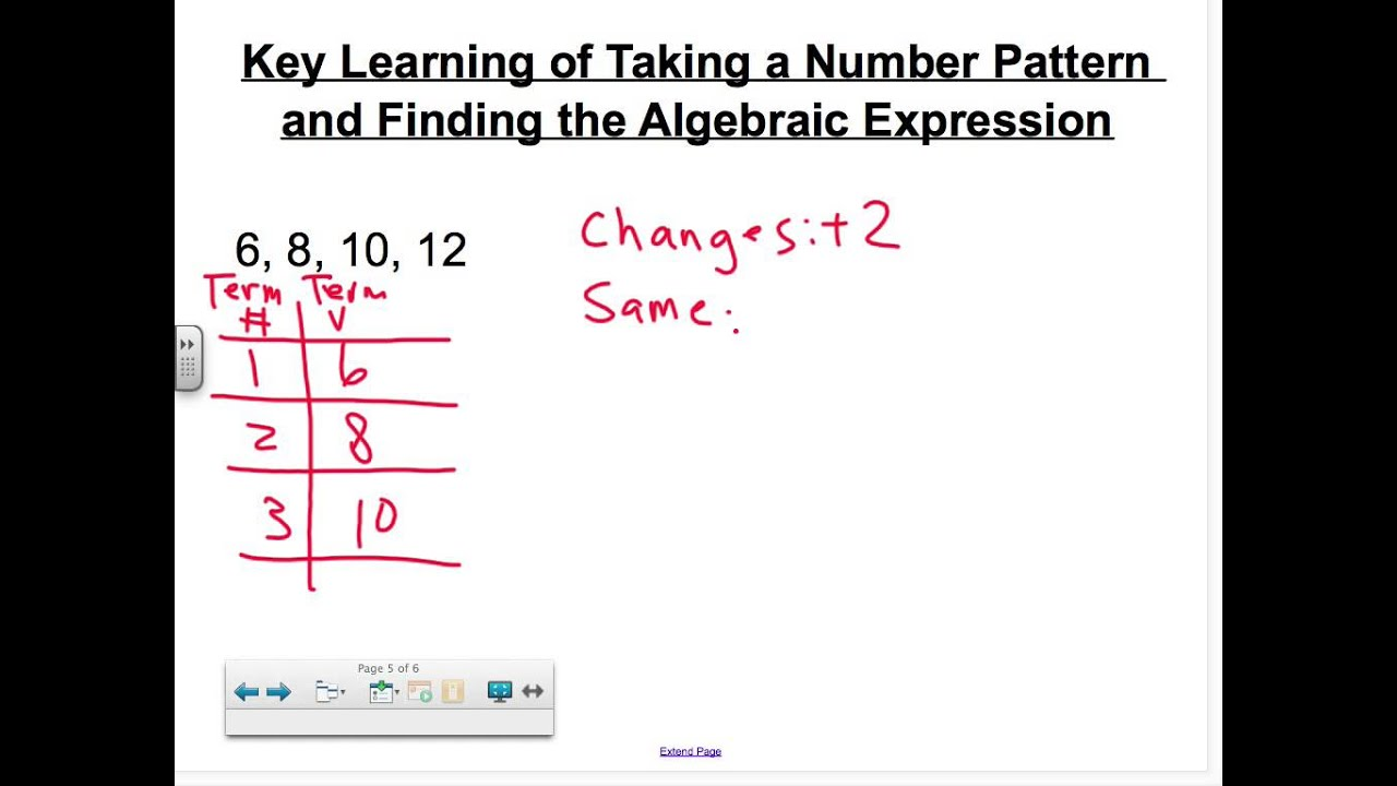 worksheet Algebraic Expression number pattern to algebraic expression youtube