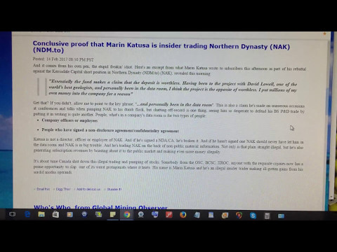 Marin Katusa illegal trading and pumping of stocks,,,,Northern Dynasty