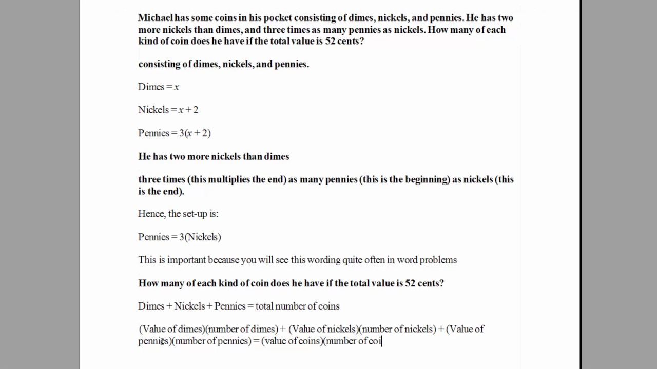 How to solve a coins word problem with algebra example 1 hd how to solve a coins word problem with algebra example 1 hd ibookread Read Online
