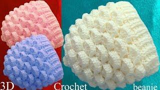 Gorro a Crochet punto marshmallow malvaviscos 3D tejido tallermanualperu thumbnail