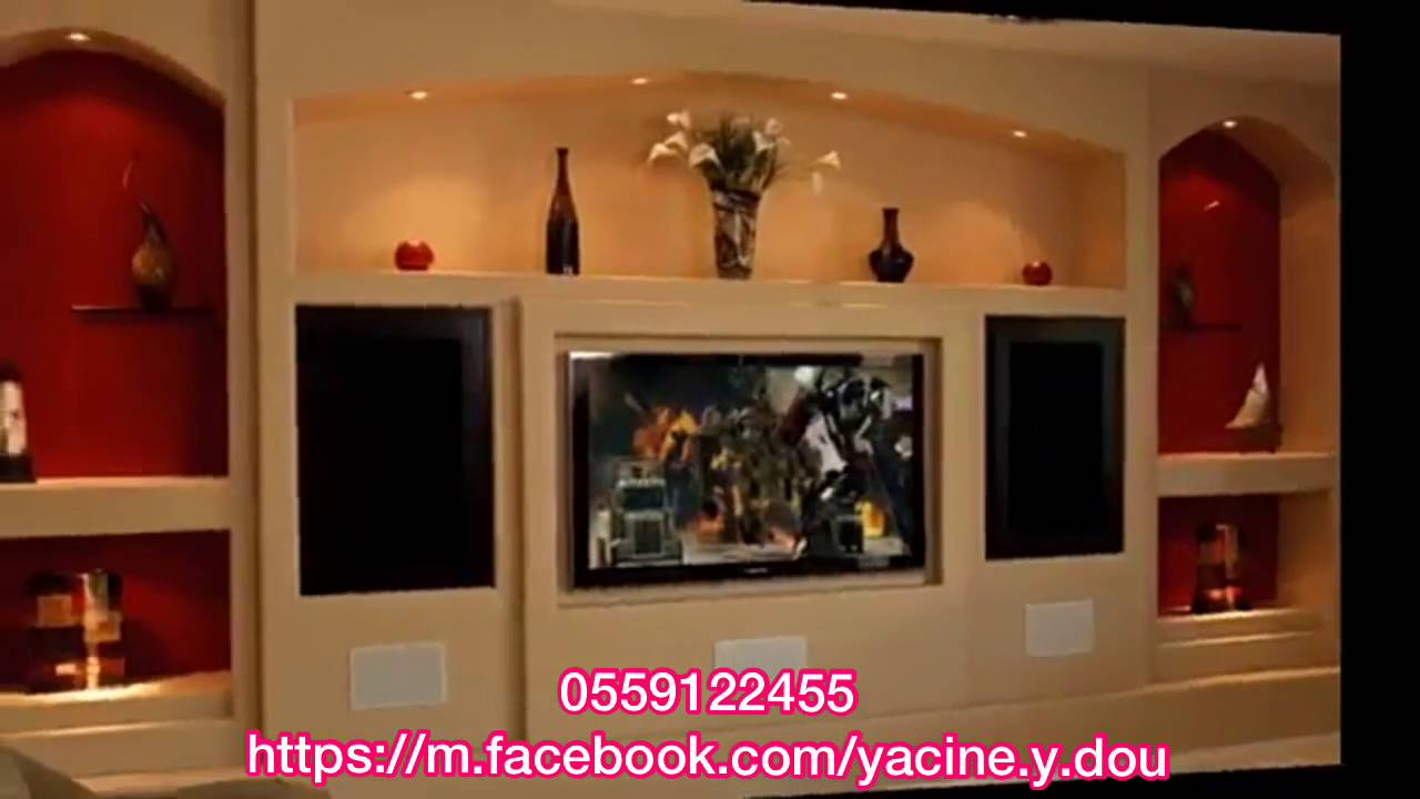 d coration ba13 placo platre meuble tv avant spr yacine doucha 0559122455 youtube. Black Bedroom Furniture Sets. Home Design Ideas