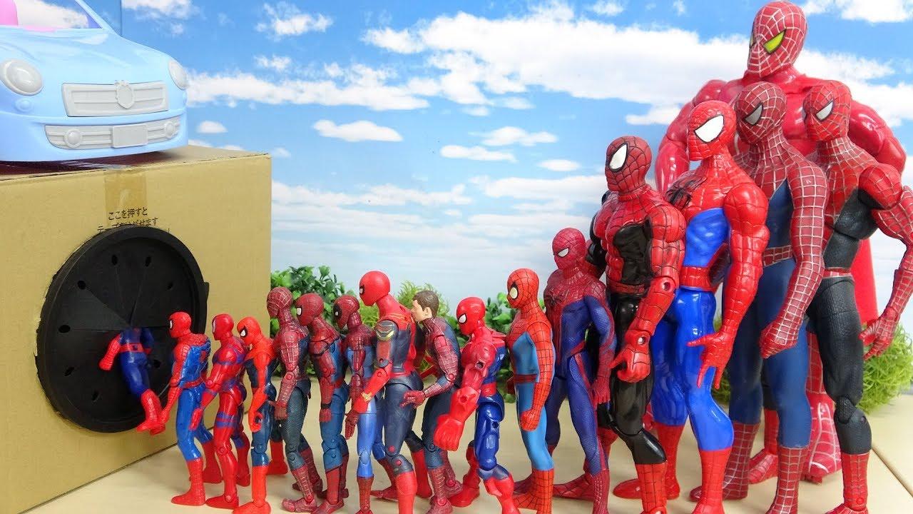 Download 色んなサイズのスパイダーマンのフィギュアがタキロンのスポリームBOXにすぽすぽ突入 全員入れるかな