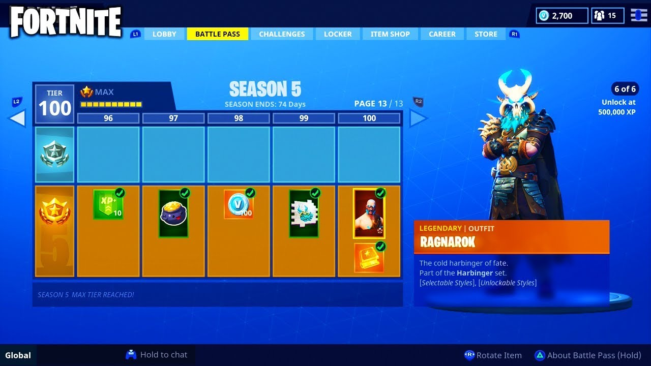 Buying All 100 Tiers For Season 5 Battle Pass On Fortnite Battle