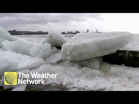 WATCH: Cameraman and reporter react as MASSIVE ice shove surges over wall directly at them