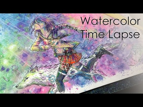 ☆ Neon Lights ☆ Time Lapse Watercolor (+Ink) Painting/Coloring Process