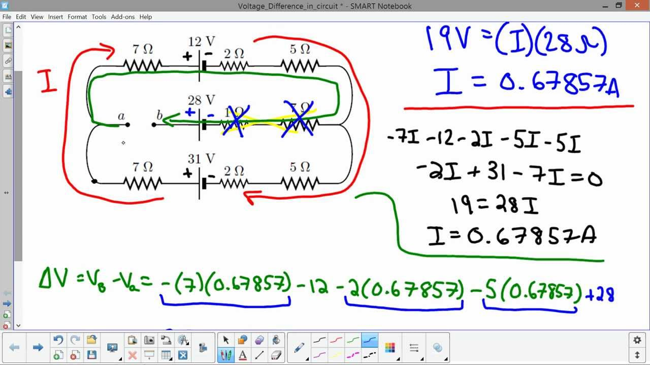 Voltage Difference Between Two Points In Circuit Youtube Solve Elec Electrical Circuits Analysis And Resolution