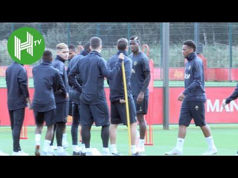 Paul Pogba trains as Jose Mourinho and Manchester United prepare for Valencia clash