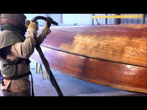 Soda Blasting Indiana, Sand Blasting Indiana, Wood boat blasted with soda by Freedom Blasting