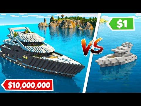 Minecraft NOOB Vs PRO: $1 Vs $10.000.000 MODERN YACHT HOUSE - BUILD CHALLENGE
