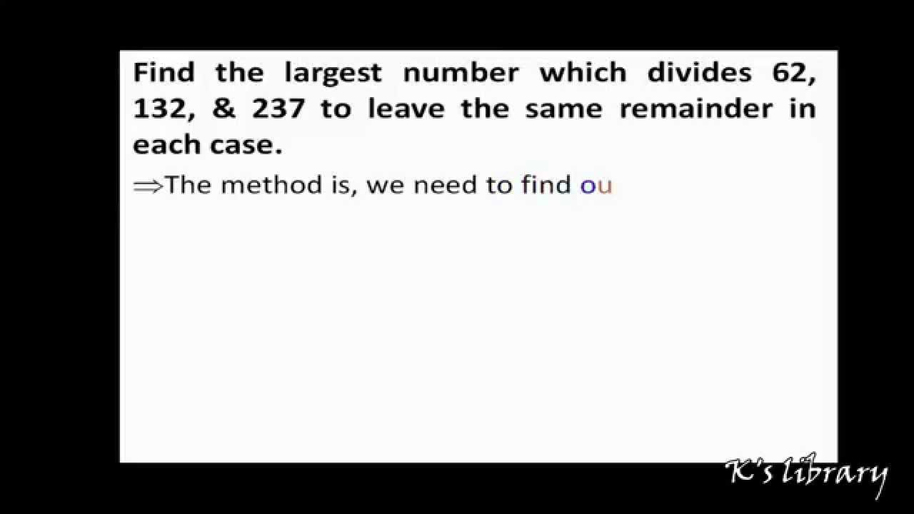 how to find remainder of big numbers