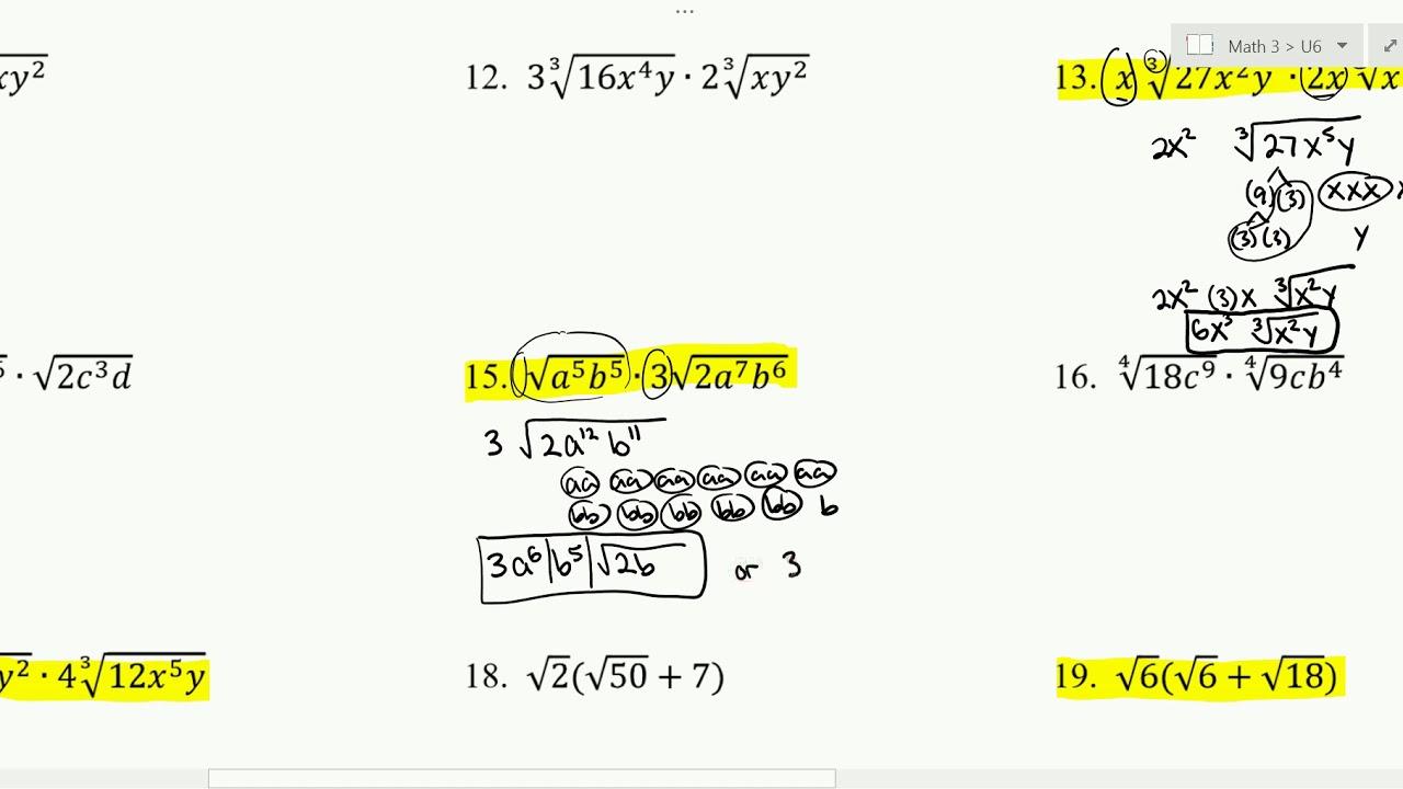 Worksheets Dividing Radicals Worksheet multiplying dividing radical expression worksheet 6 2 youtube 2