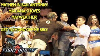 Maidana shoves Mayweather at Mayweather Maidana 2 press conference in San Antonio!