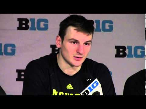 ZACH HYMAN SENIOR RIGHT WINGER MICHIGAN HOCKEY POSTGAME 2015 BIG TEN QUARTERFINALS POSTGAME