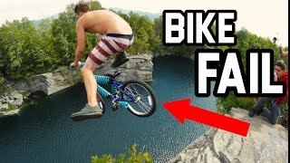 RIDING A BIKE OFF MASSIVE CLIFF  70 ft