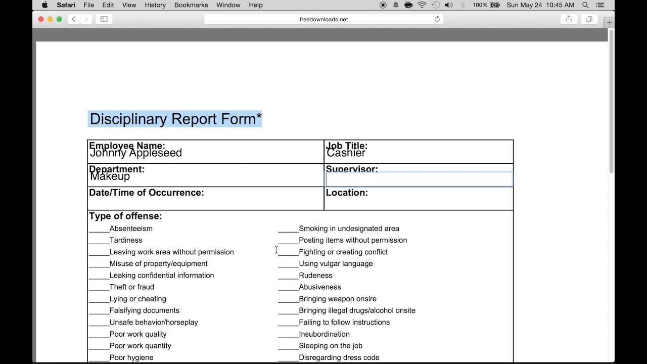 how to fill in an employee write up form pdf word