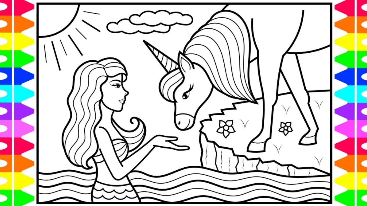 How To Draw A Mermaid And Unicorn For Kids Mermaid And
