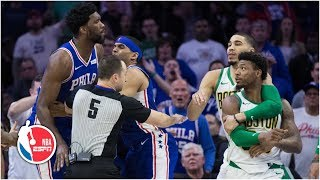 Marcus Smart ejected for shoving Joel Embiid | Celtics vs. 76ers | NBA Highlights