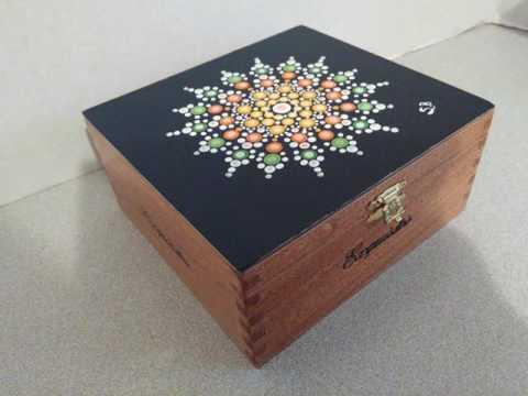 Sandra Blaine Original Art Mandala Dot Recycled Cigar Box Memory keepsake Treasure Chest DIY