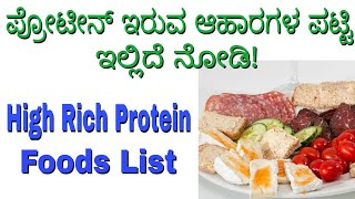 Protein Foods List in Kannada || What is Protein in Kannada || High Rich Protein Foods List