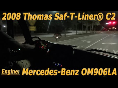 Night time driving 2008 Thomas Saf-T-Liner® C2 with Mercedes-Benz OM906LA  Engine [BUS #0611]