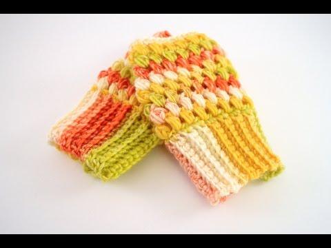How To Crochet Puff Stitch Fingerless Gloves