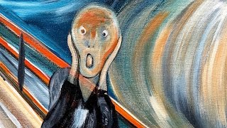 How to paint THE SCREAM by EVARD MUNCH BEGINNER Acrylic tutorial