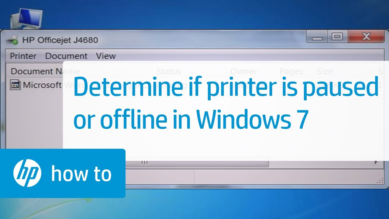 Determine Whether the Printer Is Paused or Offline in Windows 7 | HP