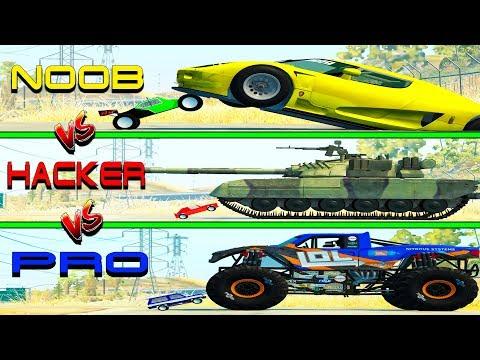 Beamng drive - NOOB vs PRO vs HACKER crashes #7 (cars crashes)