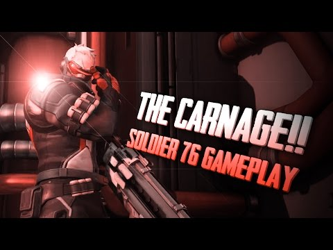 Overwatch - THE CARNAGE!! Soldier 76 Gameplay |Offense|