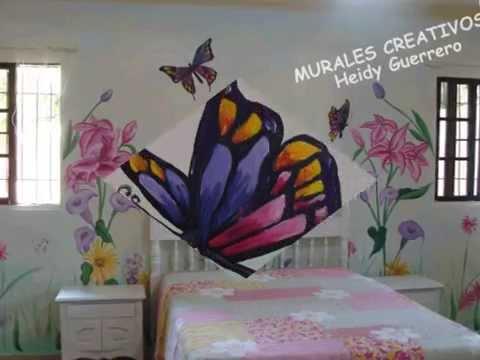 Mural de flores y mariposas decoracion habitacion paola - Decoracion de paredes pintura ...